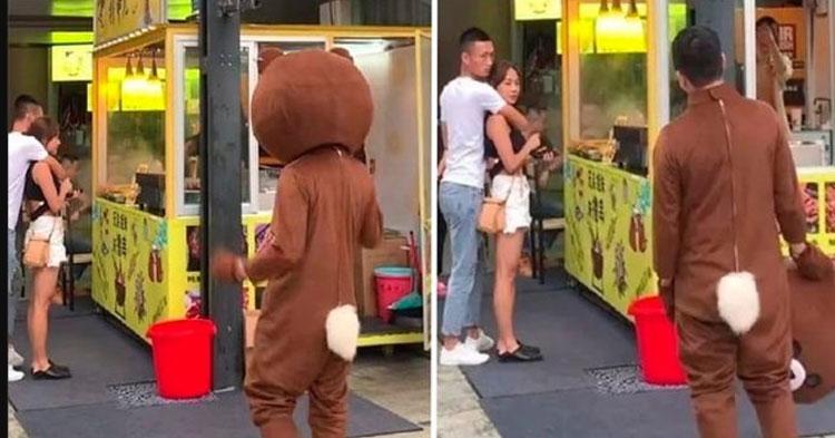 Joven se viste de oso para sorprender a su novia y la descubre con su amante